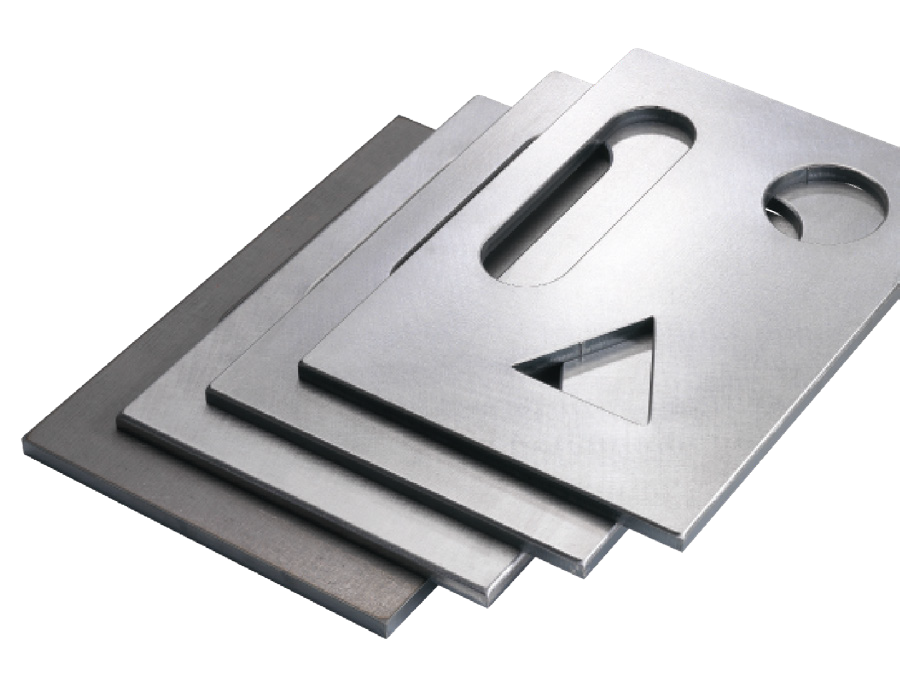 Four flat metal components display edge rounding capabilities